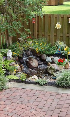 Small Waterfall Pond Landscaping For Backyard Decor Ideas 101 - Backyard Landscaping Small Backyard Landscaping, Ponds Backyard, Backyard Patio, Landscaping Ideas, Backyard Ideas, Pond Ideas, Backyard Waterfalls, Landscaping Edging, Garden Ponds