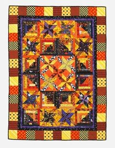 Halloween Log Cabin and Stars Quilt- Showcase an assortment of novelty prints on a seasonal throw that's a treat to piece! Halloween Quilt Kits, Halloween Quilt Fabric, Halloween Blanket, Halloween Sewing, Halloween Halloween, Summer Quilts, Fall Quilts, Log Cabin Quilts, Log Cabins