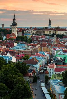 Sunset over the magical Old Town of Tallin, Estonia