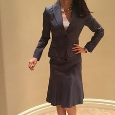 "$250 brand new BCBG Blazer : 100% brand new, size S , length 23"" bust 30"" one button open , 2 pockets , sleeve 24"" full sleeve , classic style , skirt: size 6 , waistline 30"" no strechy, hip line : 34""-35"" length 22"" A line skirt , color : dark grey Firm price No offer If you find this online, the cost is $45 only for the blazer ! BCBGMaxAzria Jackets & Coats Blazers"