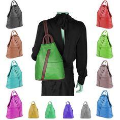 9e032e3432dff Made in Italy Damen echt Leder Rucksack Backpack Lederrucksack Tasche  Schultertasche Ledertasche Nappaleder Grün-