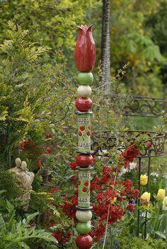 Keramik Stele,Dekoration,getöpfert,Handarbeit,Garten,Rosenkugel,Ton, in    eBay!