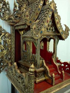 Superb Thai Spirit House, Carved Wood.