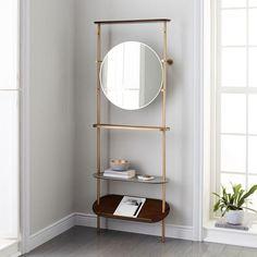 Modern Brass Entryway Coat Rack Mirror