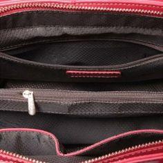 Piękna skórzana torebka tote w kolorze truskawkowym
