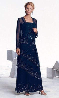 Mother Of The Bride Dresses Long, Mother Of Bride Outfits, Mothers Dresses, Grooms Mother Dresses, Long Mothers Dress, Beautiful Party Dresses, Royal Blue Prom Dresses, Beaded Chiffon, Tiered Dress