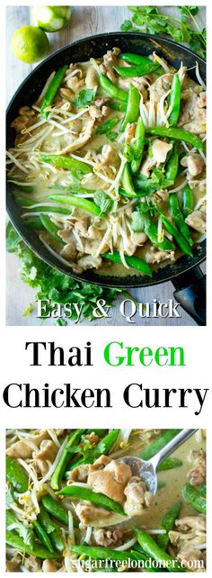 Thai chicken green curry with sugarsnap peas and beansprouts is a quick easy and tasty main meal. Great with cauliflower rice! Thai chicken green curry with sugarsnap peas and beansprouts is a quick easy and tasty main meal. Great with cauliflower rice! Paleo Recipes, Asian Recipes, Dinner Recipes, Asian Foods, Ketogenic Recipes, Lunch Recipes, Thai Green Chicken Curry, Thai Curry Recipes, Zucchini