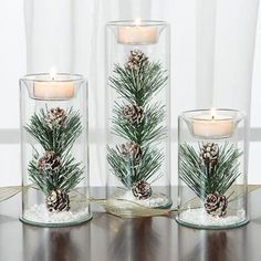 Winter Tealights Love this unique winter wedding centerpiece idea for a winter wedding. This would look beautiful as part of a wedding table set-up. Winter Wedding Centerpieces, Flower Centerpieces, Centerpiece Ideas, Christmas Centerpieces For Table, Winter Wonderland Centerpieces, Pinecone Centerpiece, Winter Wonderland Theme, Elegant Centerpieces, Winter Wonderland Christmas