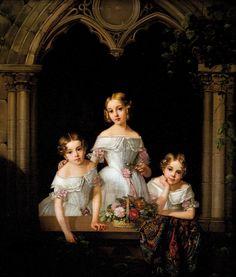 The daughters of Grand Duke Mikhail Pavlovich and Grand Duchess Elena Pavlovna of Russia: Grand Duchesses Maria, Elizaveta, and Ekaterina Mikhailovna, from vk.com group Women of the House of Romanov....