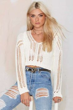 Nasty Gal Take It Easy Crop Sweater