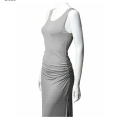 LowestHP 5/13/16NWT.Light grey sleeveless maxi Maxi dress.  Sleeveless.  Slight rouching at waist.  Slits on both sides.  Material is 95% rayon/5% spandex.  Dress up or down. Thanta Dresses Maxi