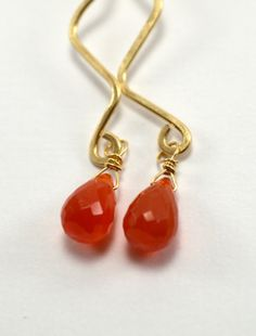 Carnelian earrings. Gold fill carnelian by MilionSplendidPearls, $25.50