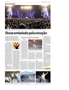 Cobertura do show de Paul McCartney para o jornal O Popular em maio de 2013