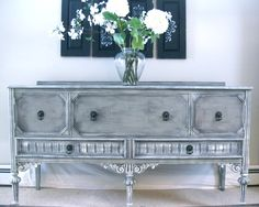 Antique Sideboard painted grey and antique white.