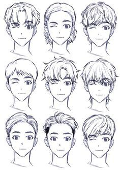Drawing Male Hair, Anime Face Drawing, Drawing Face Expressions, Face Drawing Reference, Guy Drawing, Art Reference Poses, Hair Drawings, Face Structure Drawing, Little Boy Drawing