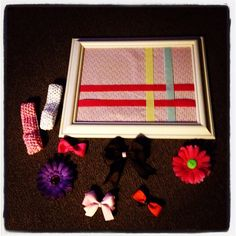 Hair Bow holder frame and bows.  Just want to say I thought of doing something like this before I ever saw a picture of one. :)