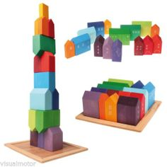 Grimms Wooden City & Town Waldorf Building Blocks Set Village Small Houses 4x4