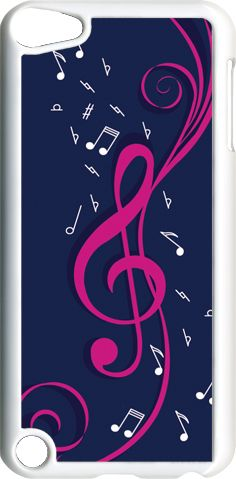 Navy Blue and Pink Treble Clef Design on iPod Touch 5th Gen 5g on White TPU Case | eBay
