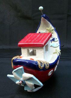 ceramic boat Fischerboot aus Keramik