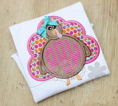 Girl Turkey, Thanksgiving Monogram Shirt for Girls, Chevron Monogram