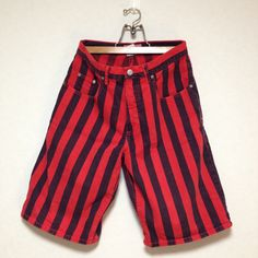 90s GUESS Black x Red Striped Denim Short Pant Made in USA