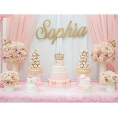 Then make sure that you throw a baby shower! Check out our baby shower themes to find something perfect for the party! Baby Girl Birthday, Gold Birthday, Princess Birthday, 1st Birthday Parties, Birthday Party Decorations, Party Centerpieces, Pink Princess Party, Birthday Table, Shower Party