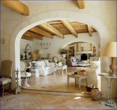 A trio of forlorn structures in Provence transforms into a single, spacious farmhouse. These elegant building and interior design ideas can inspire a home improvement project that highlights a classic French feel. Style At Home, Restored Farmhouse, Home Living, Living Rooms, Family Rooms, Living Area, Better Homes And Gardens, Home Fashion, Old World