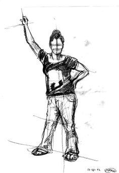 Dibujo del natural. Diferentes poses de figura. Gorka Rufaco. 2012