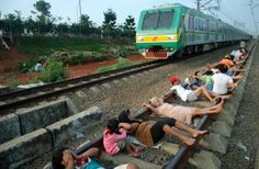 Rare Railway Track therapy In Indonesia, a bizarre medical treatment is followed to treat Diabetes and High Blood Pressure.