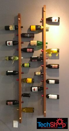 """Wall-Mounted Vertical Wood Wine Rack """" Want a unique and stylish place to put your bottles? Not only is this wine rack a great space saver, it will bring the wall quite to life! Wood Wine Racks, Wine Rack Wall, Wall Racks, Rack Shelf, Wine Rack Design, Wine Rack Plans, Champagne Corks, Wine Cabinets, Italian Wine"""