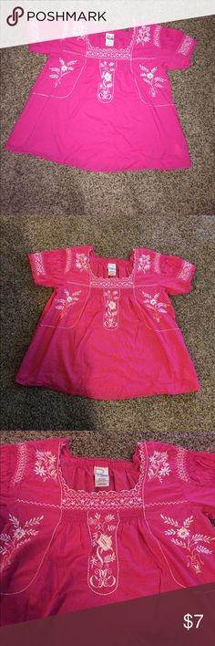 Roaman's Pheasant Top Roaman's Peasant Top. Dark Pink with beautiful white embroidery. Square neck. Size Medium In Women's. Has a slight flare at bottom. Some elastic on top of sleeves. Small stain on back. Hardly even noticeable. Looks like it might be ink. I do believe it will wash out. Pretty Blouse. Roaman's Tops Blouses