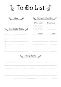 Daily To Do list with rustic pattern. Sections available in this template: Date Schedule for today, Things to do, My health checklist, Water intake Sleep hours, Daily exercises To Do Lists Printable, Free Printable Calendar, Printable Planner, Calendar Templates, Free Printables, Checklist Template, Planner Template, To Do Planner, Planner Ideas
