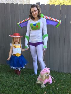 Halloween toy story costumes. Jesse, Buzz Lightyear and Hamm the piggy bank. Mother and daughter theme, family DIY costumes pet costume couples costumes toddler child girl boy costume Halloween theme costume matching costumes  DIY Halloween Toy Story Theme Jesse Buzz Lightyear Hamm the Piggy Bank