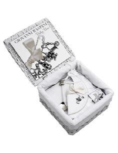 Raspini Baby Box Bavaglino:   Box 23 x 23 x 13 cm con bavaglino, spillone capoculla con angelo, cucchiaio orsetto