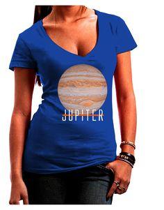 TooLoud Planet Jupiter Earth Text Juniors Petite V-Neck Dark T-Shirt
