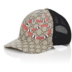 Gucci Men s Snake   Logo-Print Trucker Hat ( 335) ❤ liked on Polyvore  featuring men s fashion 03ed748fa2a