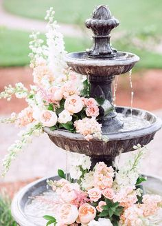 Party Floral Décor Idea for a Fountain.