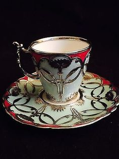 Limoges Pouyat art nouveau silver overlay demitasse cup and saucer MINT •…