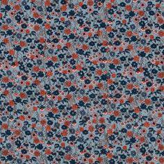 Woven cotton dusty blue w small flowers