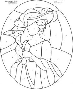Free stained glass patterns/Red hat lady - Etc. Stained Glass Quilt, Faux Stained Glass, Stained Glass Designs, Stained Glass Projects, Stained Glass Patterns, Mosaic Patterns, Embroidery Patterns, Quilt Patterns, Coloring Books