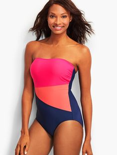 639410d706591 Bold colors and asymmetrical blocking make this swimsuit flattering and  fun. Swimwear