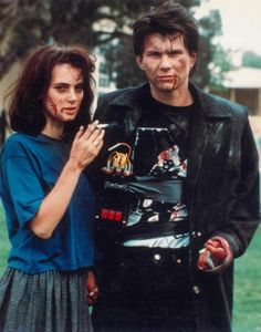 "Winona Ryder and Christian Slater as Veronica Sawyer and JD in ""Heathers"" (1989) One of my faves!!"
