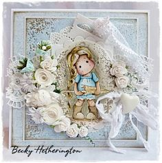 Tilda card created by LLC DT Member Becky Hetherington, using papers from Maja Design's Vintage Spring Basics Collection.