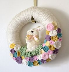 Easter Bunny Wreath - Pastel Spring and Nursery Colors, 12 inch size from TheBakersDaughter Etsy shop.  http://www.etsy.com/listing/93203604/easter-bunny-wreath-pastel-spring-and