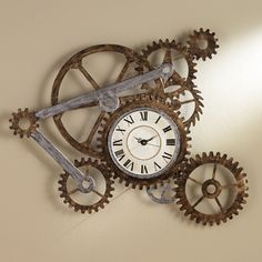 @Overstock.com - Clock and Gears Wall Art - Turn the gears of artistic expression in your home or office with this unique decorative gear wall art. Made from durable hand-painted metal, the gears of this piece create a rugged, industrial motif perfect for a living room, office, or loft space.  http://www.overstock.com/Home-Garden/Clock-and-Gears-Wall-Art/2403972/product.html?CID=214117 $119.99