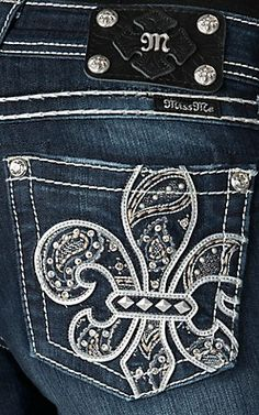 Miss Me® Womens Dark Wash Silver Fleur De Lis with Paisley Embroidery & Crystals Open Pocket Boot Cut Jeans | Cavender's