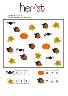 Crafts,Actvities and Worksheets for Preschool,Toddler and Kindergarten.Lots of worksheets and coloring pages. Fall Crafts For Toddlers, Autumn Activities For Kids, Math For Kids, Kids Crafts, Numbers Preschool, Fall Preschool, Preschool Activities, Preschool Learning, Kindergarten Homework