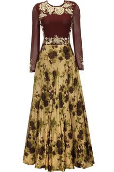 This skirt! I absolutely love the colour combination of this dress. Earthy gold and maroon square embroidered anarkali set by Bhumika Shrma. Indian Attire, Indian Wear, Indian Dresses, Indian Outfits, Desi Wear, Anarkali Dress, Elegant Outfit, Floral Maxi Dress, Bollywood Fashion