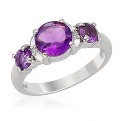 Ring With Amethysts  And Diamonds - Size7  Size 7. Wonderful ring with genuine amethysts and diamonds well made of 925 sterling silver. Total item weight 2.9g. Gemstone info: 2 amethysts, 0.48ctw., round shape and purple color, 1 amethyst, 1.30ctw., round shape and purple color, 2 diamonds, 0.02ctw.