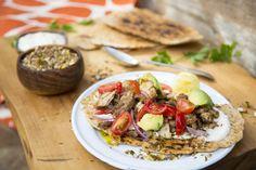 Spicy Chicken Flatbreads with Dukkah and Lemony Yoghurt - Sarah Graham Food